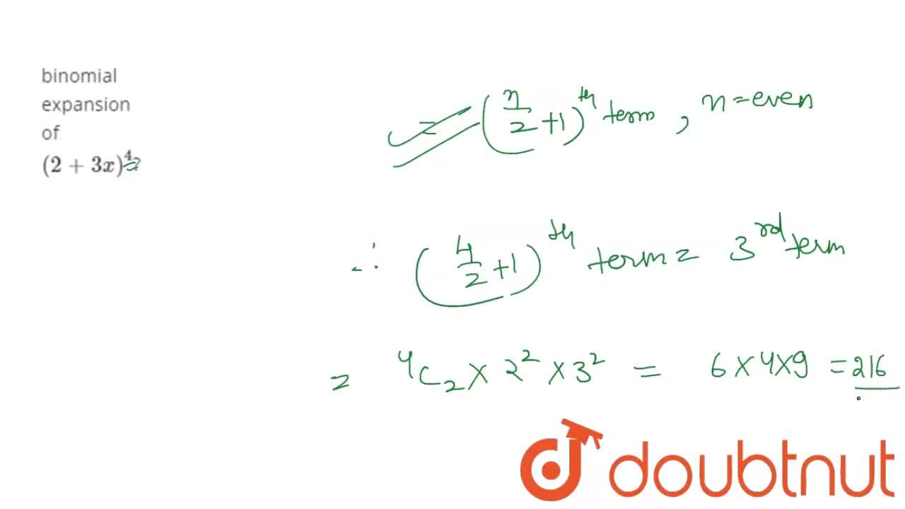 What is the coefficient of the middle term in the binomial expansion of (2+3x)^(4)?