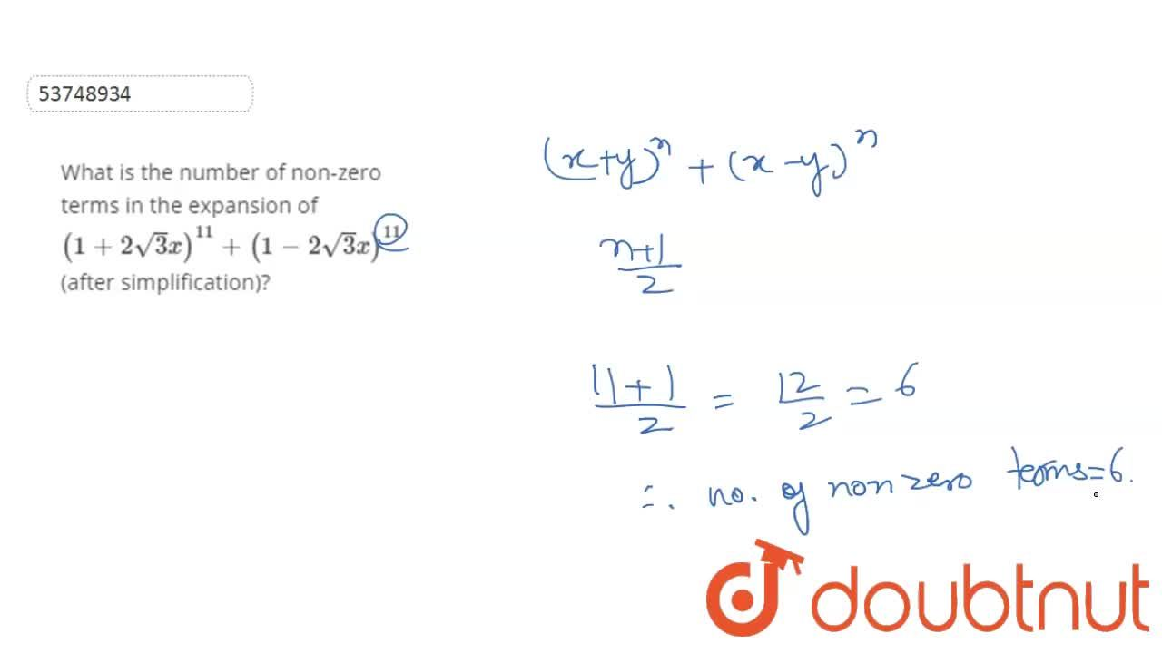 Solution for What is the number of non-zero terms in the expans