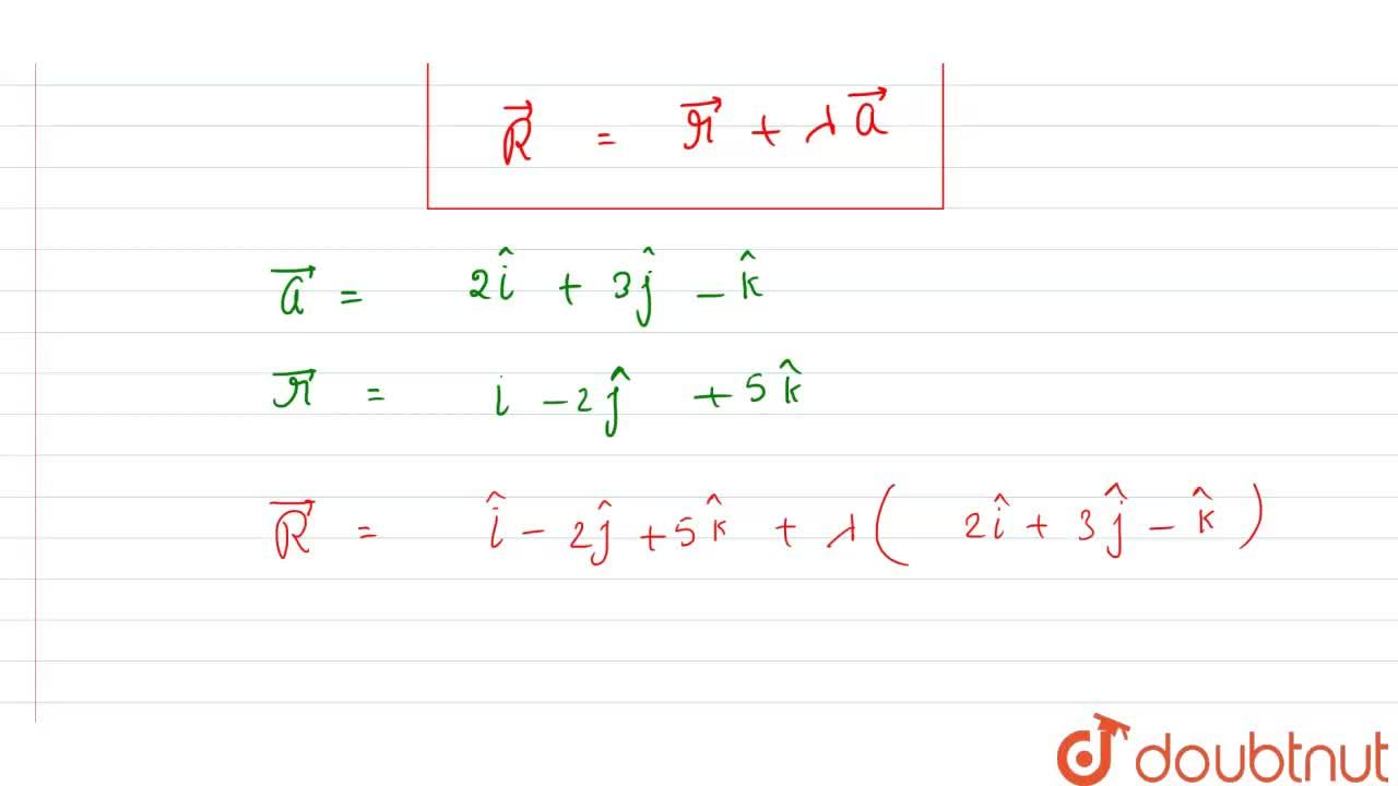 Solution for  The Cartesian  equations  of a line  are (x-1),(
