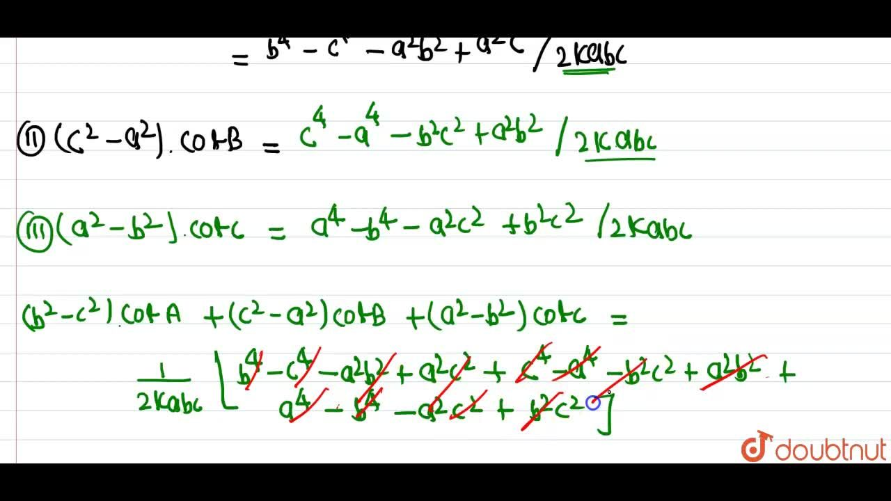 Solution for In any DeltaABC, prove that (b^(2)-c^(2))cotA+(