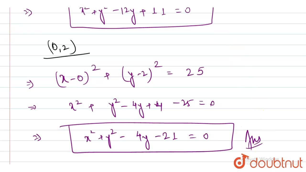 Solution for Find the equation  of the circle  of radius  5 cm,