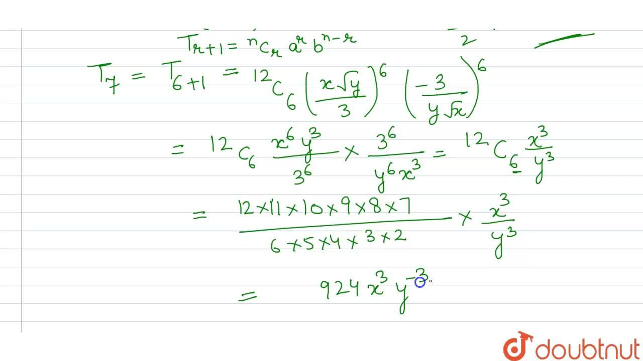 What is the middle term in the expansion of ((xsqrt(y)),(3)-(3),(ysqrt(x)))^(12) ?