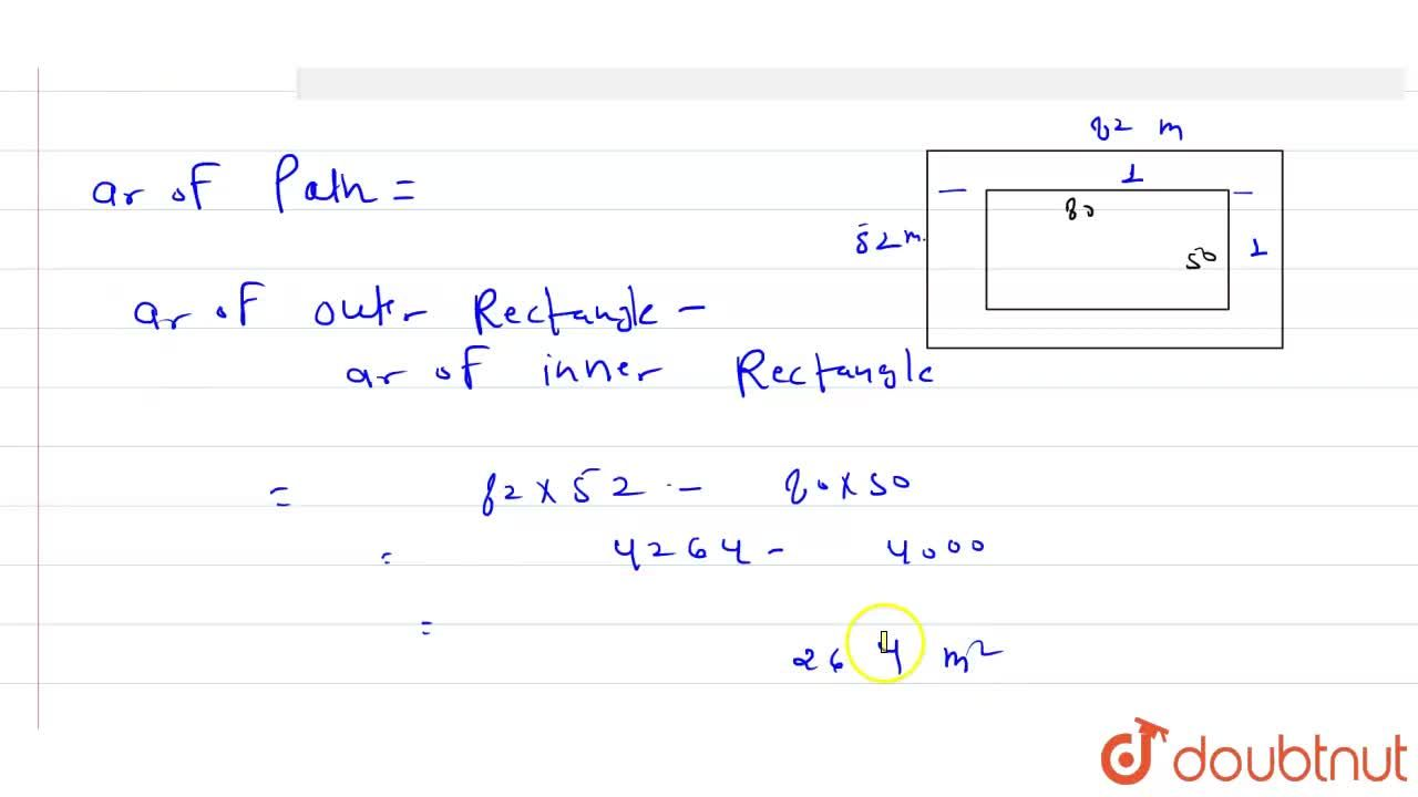 A rectangular  ground  80 mxx50m   has  a path 1 m wide outside  around  it , the  area of the  path is