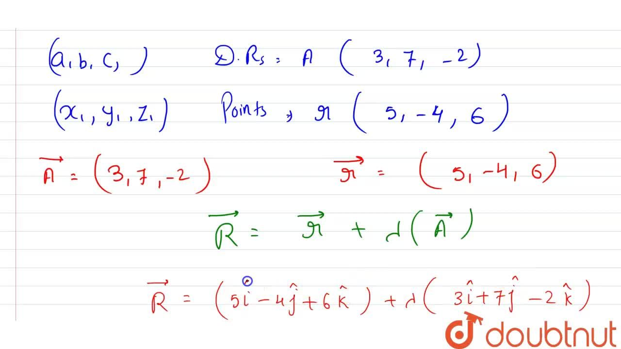 Solution for Write  the vector  equation  of a line  whose  Car