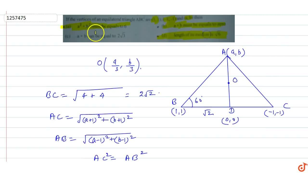Solution for If the vertices of an equilateral triangle ABC are