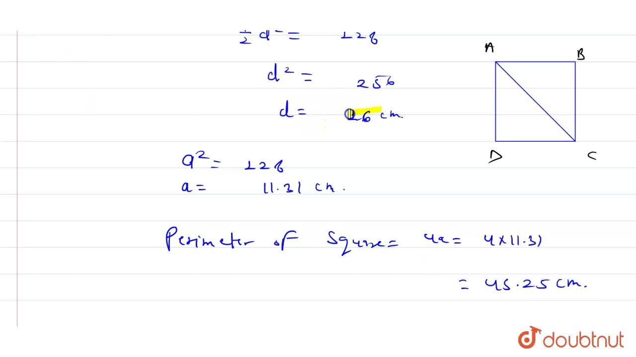 Solution for Find  the length  of the  diagonal  of a  square