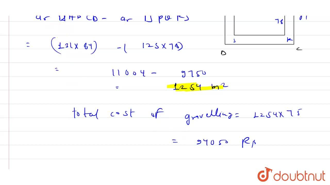 A rectangular  plot  measures  125 m by  78 m. It has  a gravel path  3m  wide all around  on the  outside  .find  the area  of the  path  and  the cost of  gravelling  it at Rs. 75 per  m^(2).