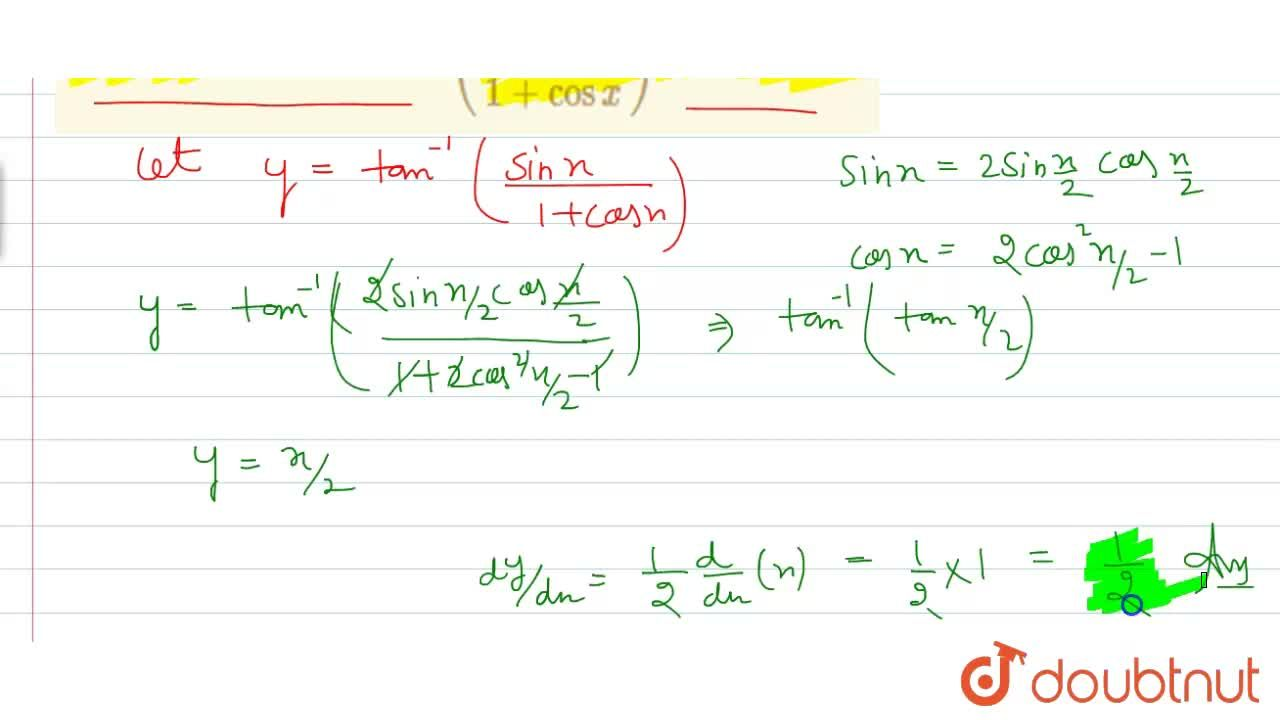 Solution for Find the derivative of tan^(-1)((sinx),(1+cosx))