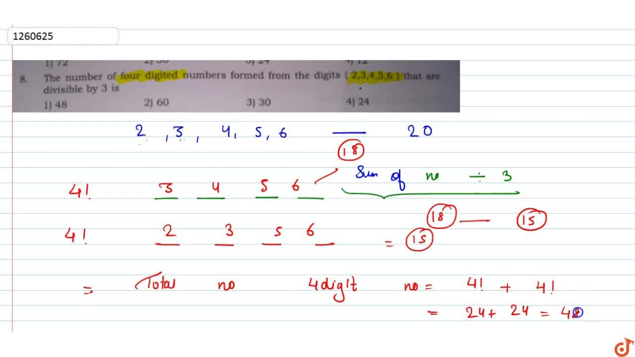 Solution for The number of four digited numbers formed from the