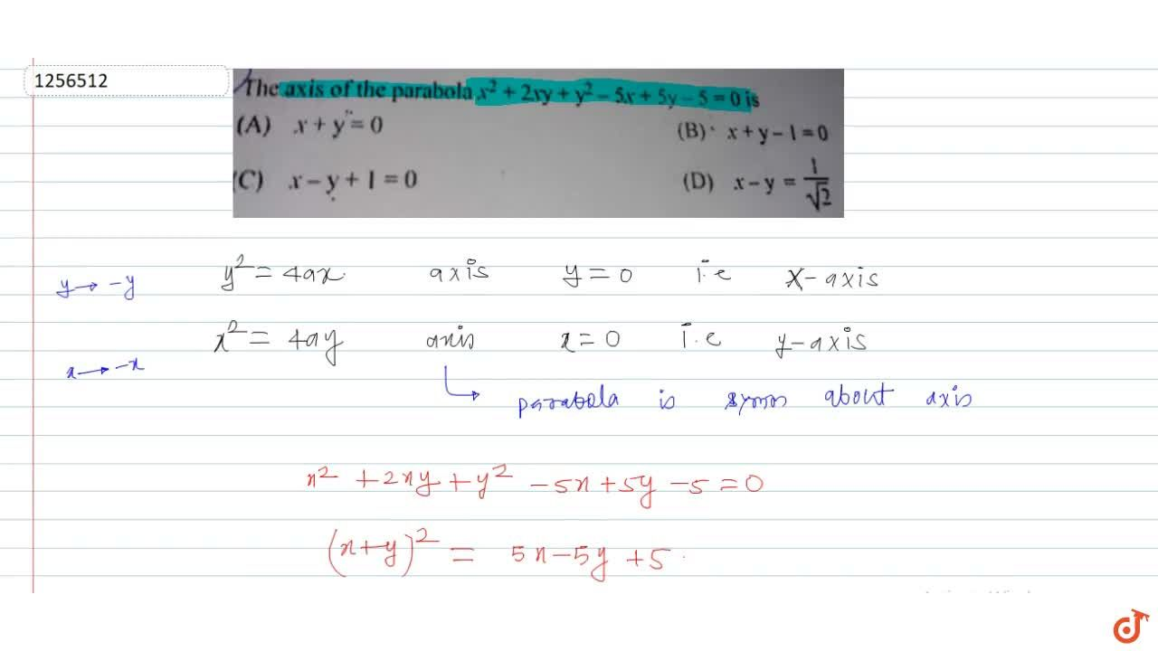 Solution for The axis of the parabola x^2+2x y+y^2-5x+5y-5=0