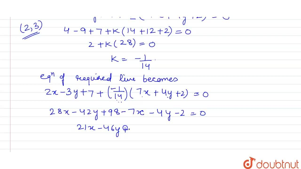 Solution for The equation of the line passing through the point