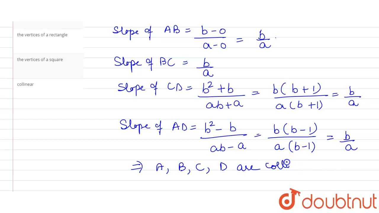 Solution for The points (a, b), (0, 0), (-a, -b) and (ab, b^(2
