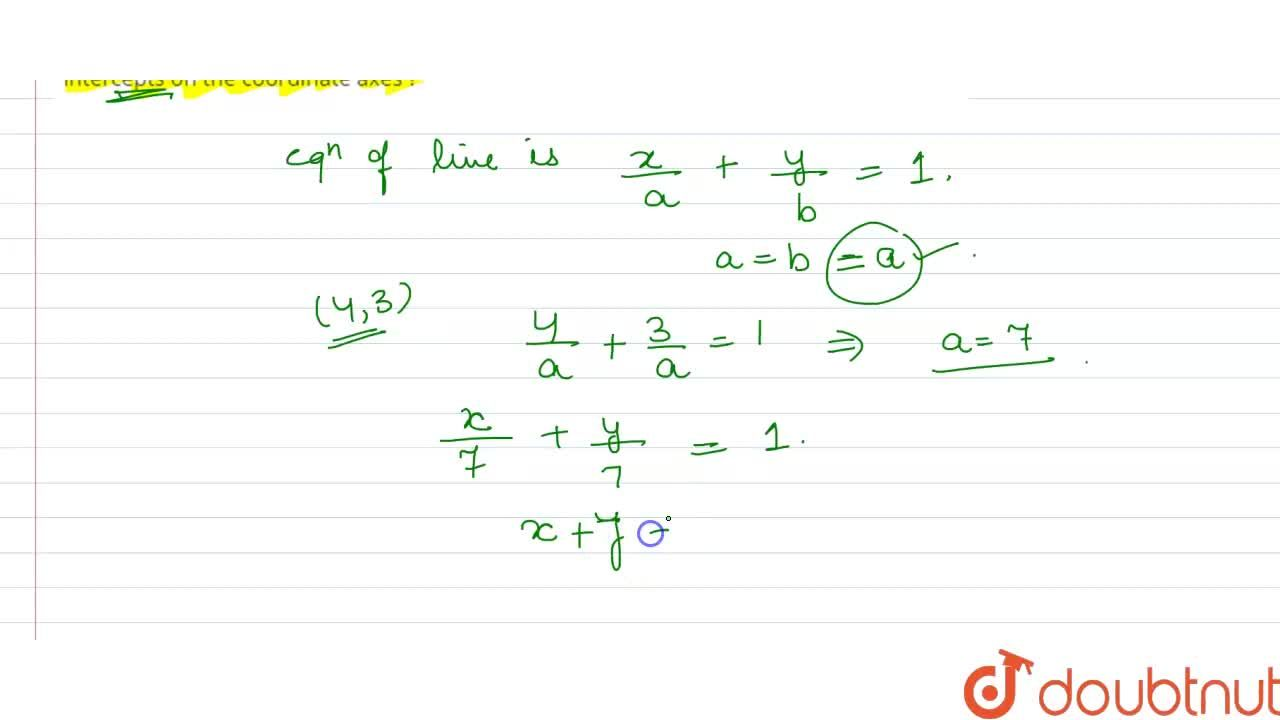Solution for What is the equation of straight line passing thro