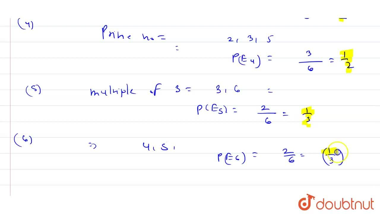Solution for A die is thrown. Find the probability of <br> (i)