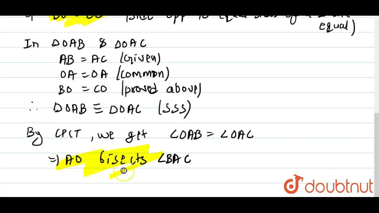Solution for In DeltaABC,AB=AC and the bisectors of angleB a