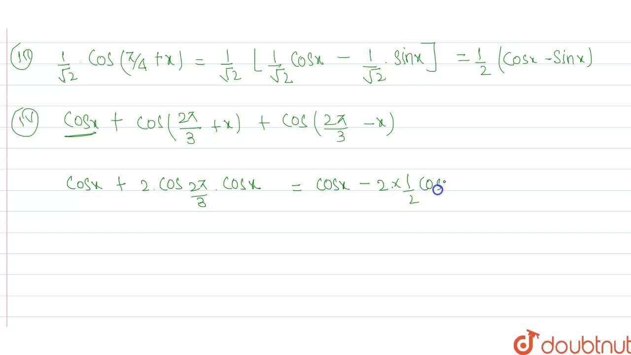 """Solution for Prove that <br>  (i)  """"cos  """" ((pi),(3) +x) =(1),"""