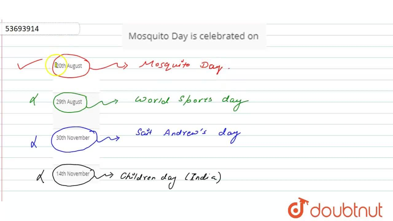 Solution for Mosquito Day is celebrated on