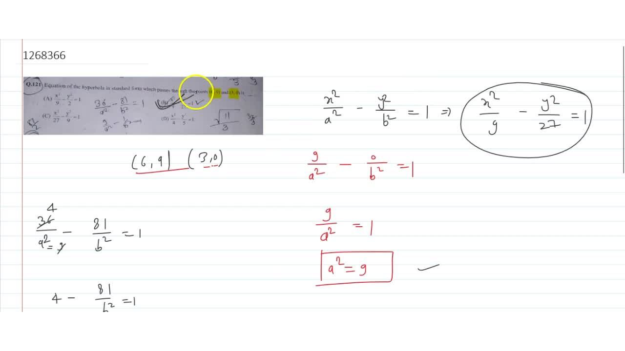 Solution for Equation of the hyperbola in standard form which p