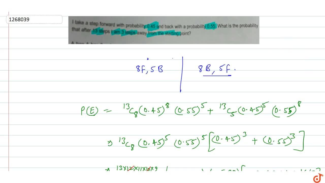 Solution for I take a step forward with probability 0.45 and ba