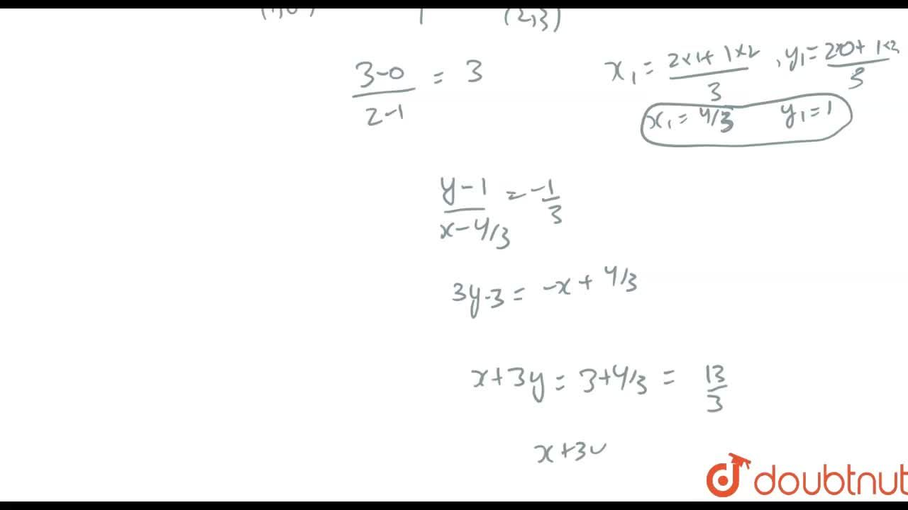A line perpendicular to the line segment joining the points (1,0) and (2,3) divides it in the ratio 1:2. Find the equation of the line.