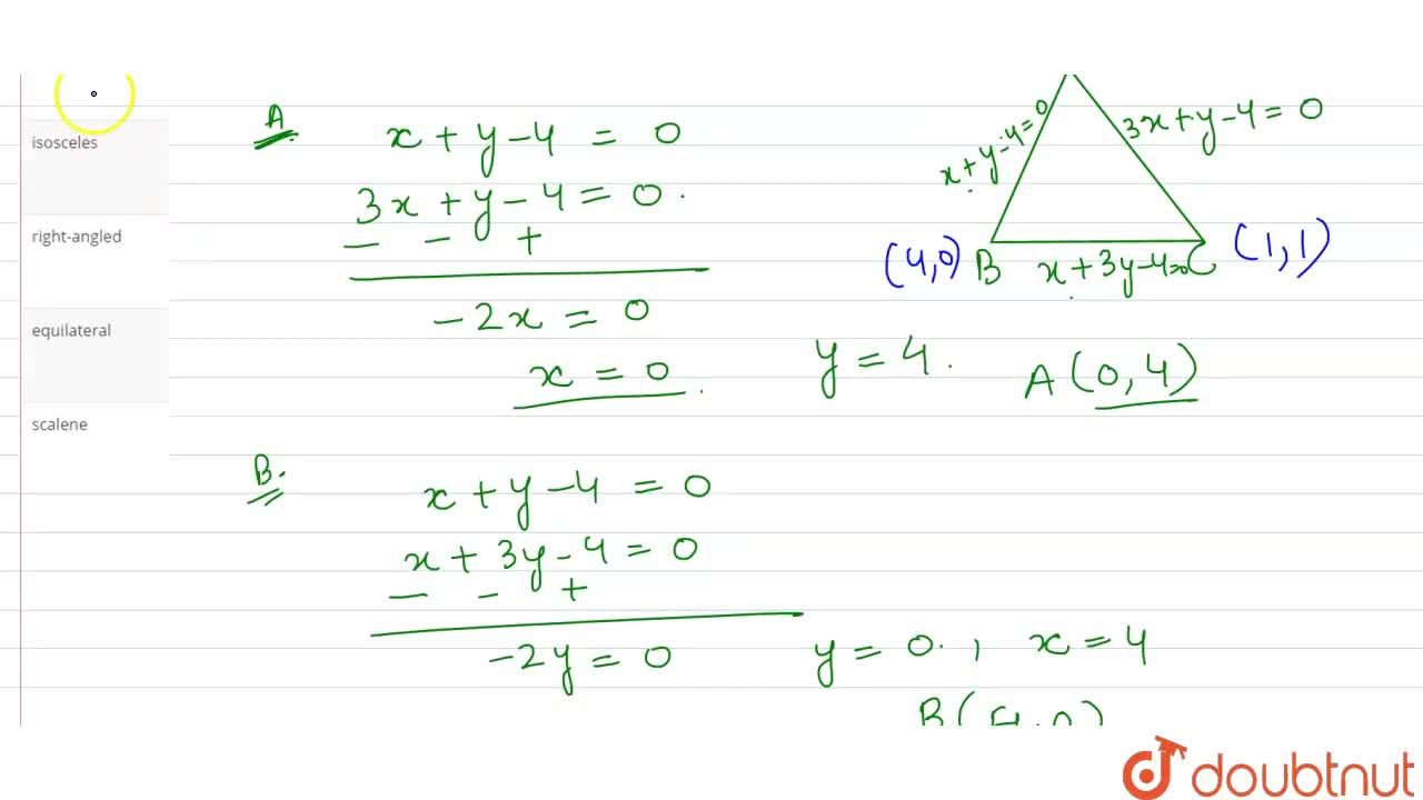 Solution for The straight lines x+y-4=0, 3x+y-4=0 and x+3y-4