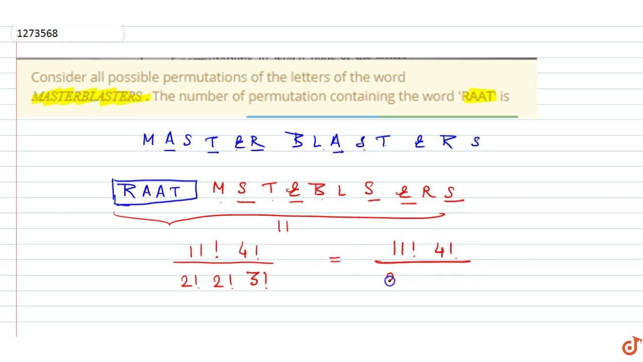 Solution for Consider all possible permutations of the letters