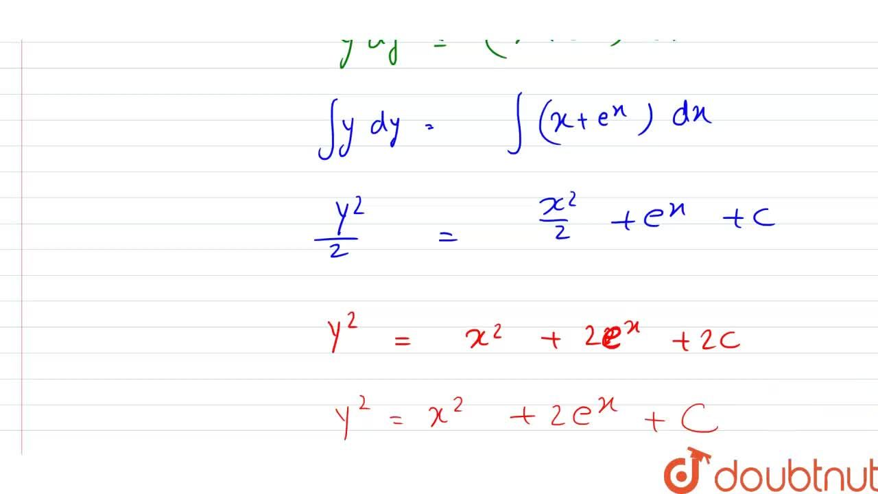 Solution for अवकल समीकरण (dy),(dx)=(x+e^x),y को हल कीजिए |