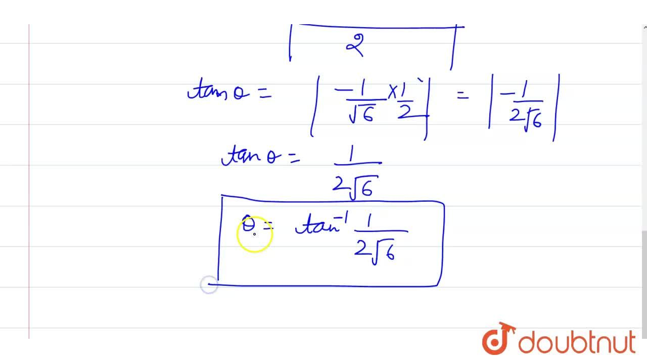 Solution for What is the acute angel between the pair of straig