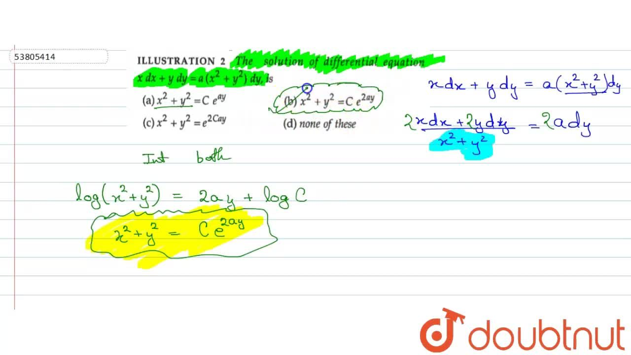 Solution for The solution of differential equation xdx+ydy=a(x