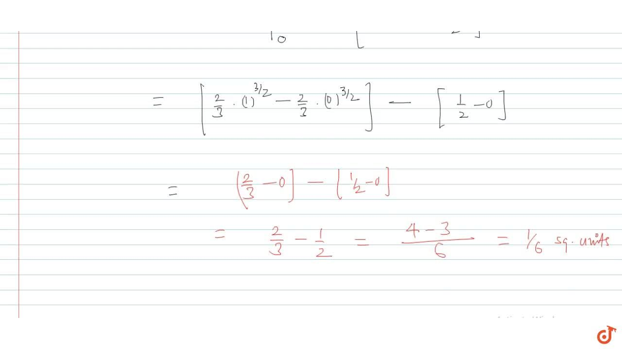 Solution for The area enclosed between the curves y^2=x and y=