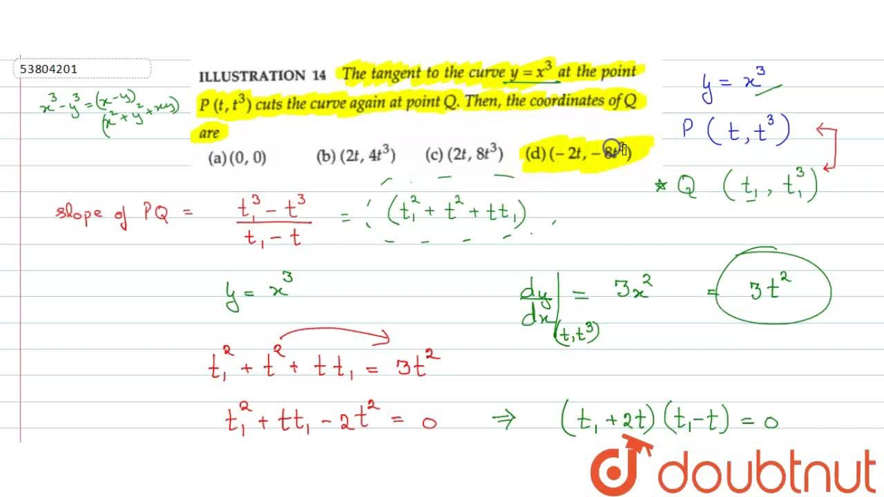 Solution for The tangent to the curve  y=x^(3) at the point
