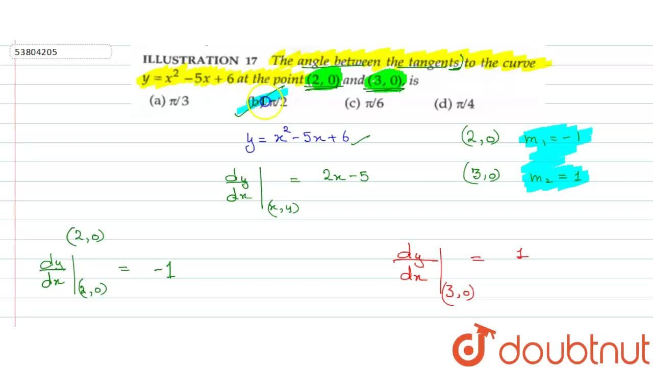 Solution for The angle between the tangents to the curve y=x^(