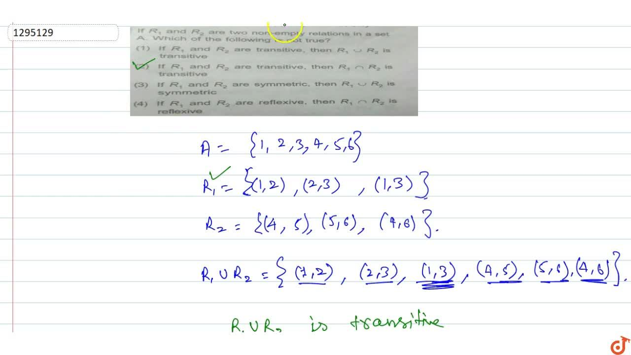 Solution for If R_1 and R_2 are two non-empty relations in