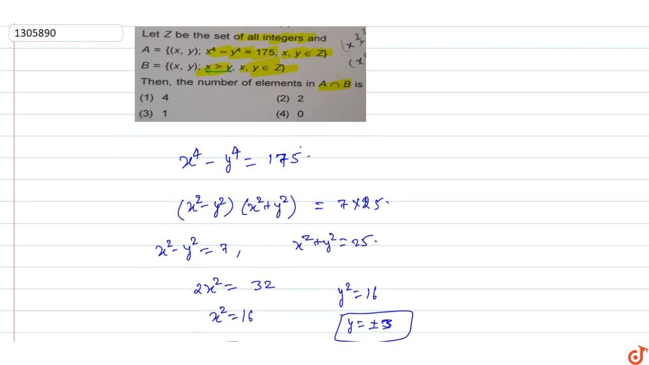 Solution for Let Z be the set of all integers and A = {(x, y);