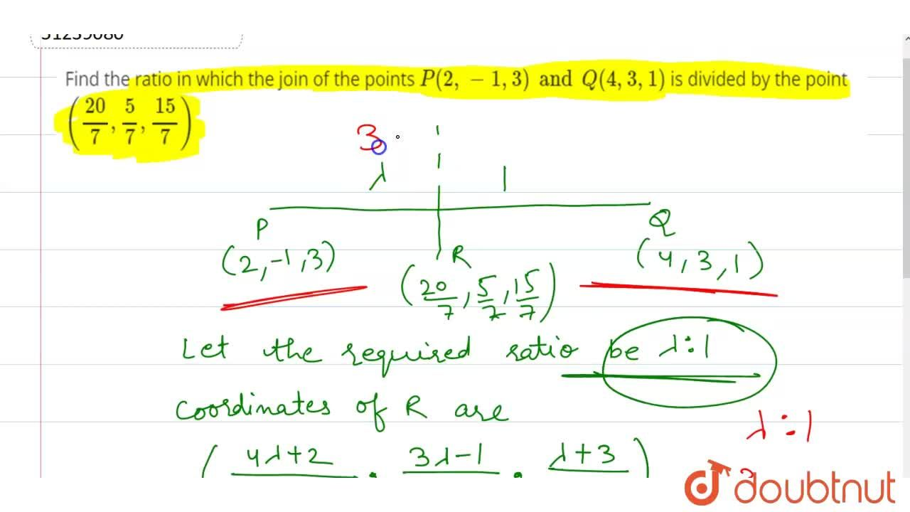 Solution for Find the ratio in which the join of the points P(