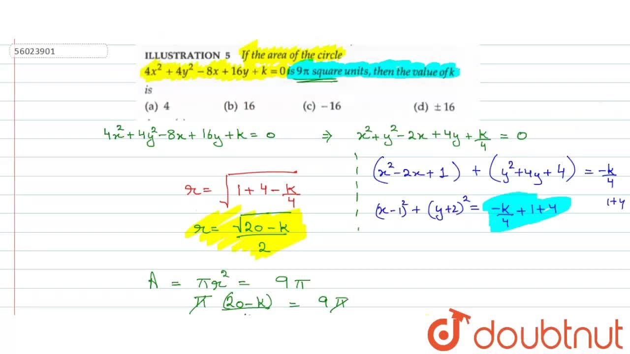 If the  area of the circle 4x^(2)+4y^(2)-8x+16y+k=0 is 9pi square units, then the value of k is
