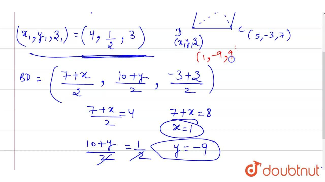 Solution for If the three consecutive vertices of a parallogram