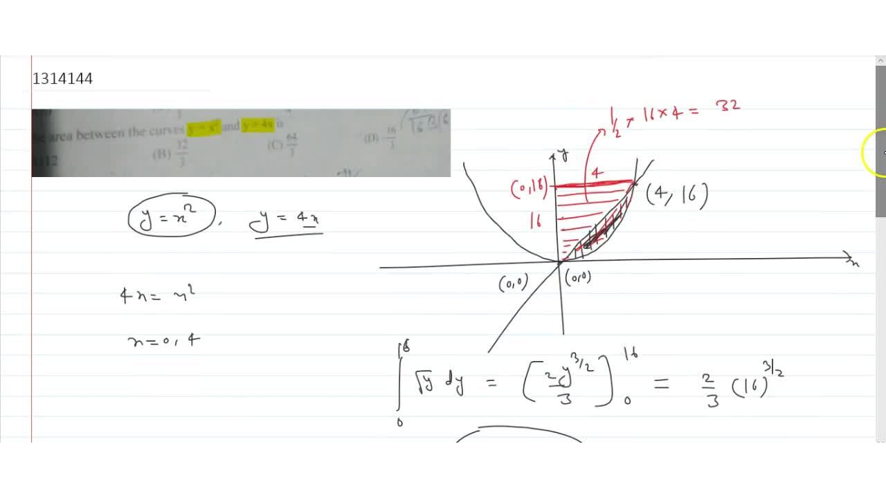 Solution for  the area between the curves y= x^2 and y =4x