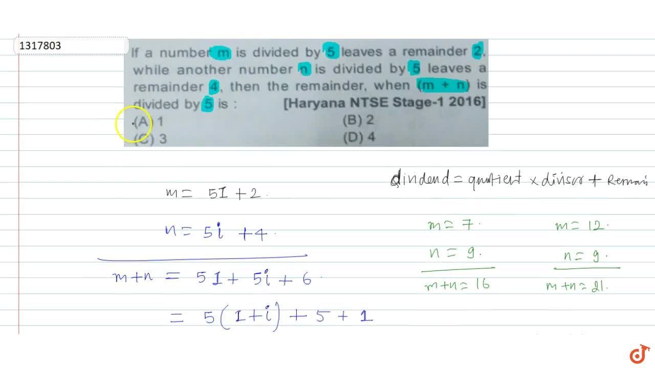 Solution for  If a number m is divided by 5 leaves a remainder