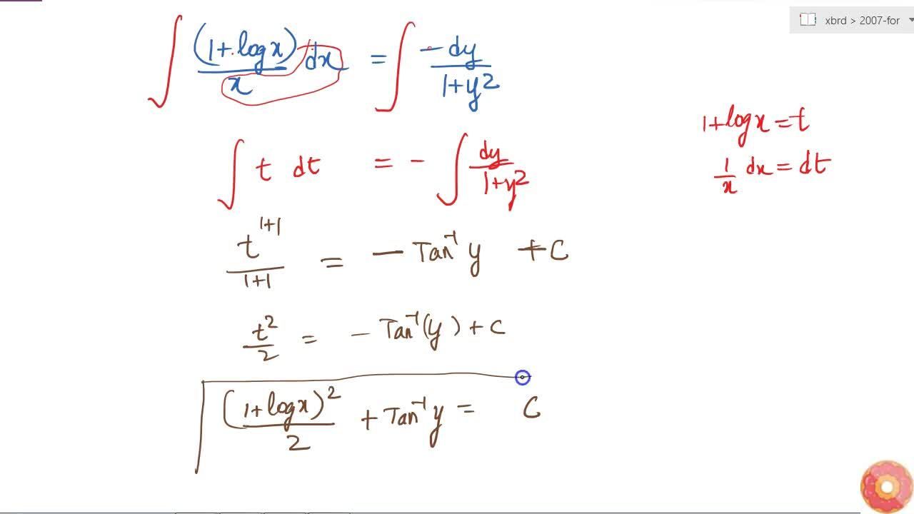 "Solve the following differential equation :  `(1+""y""^2)(1+log""x"")""dx""+""x\ dy""=0`"
