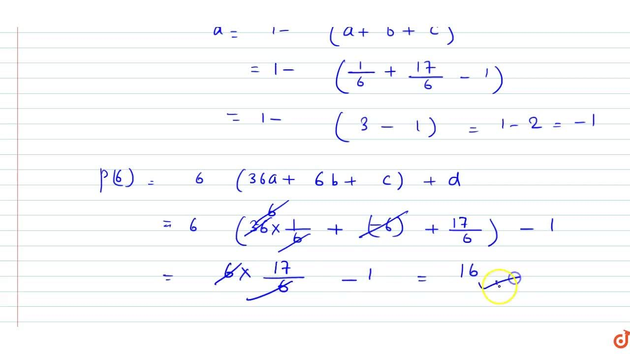 Solution for A cubic polynomial p(x) is such that p(1)=1,p(2