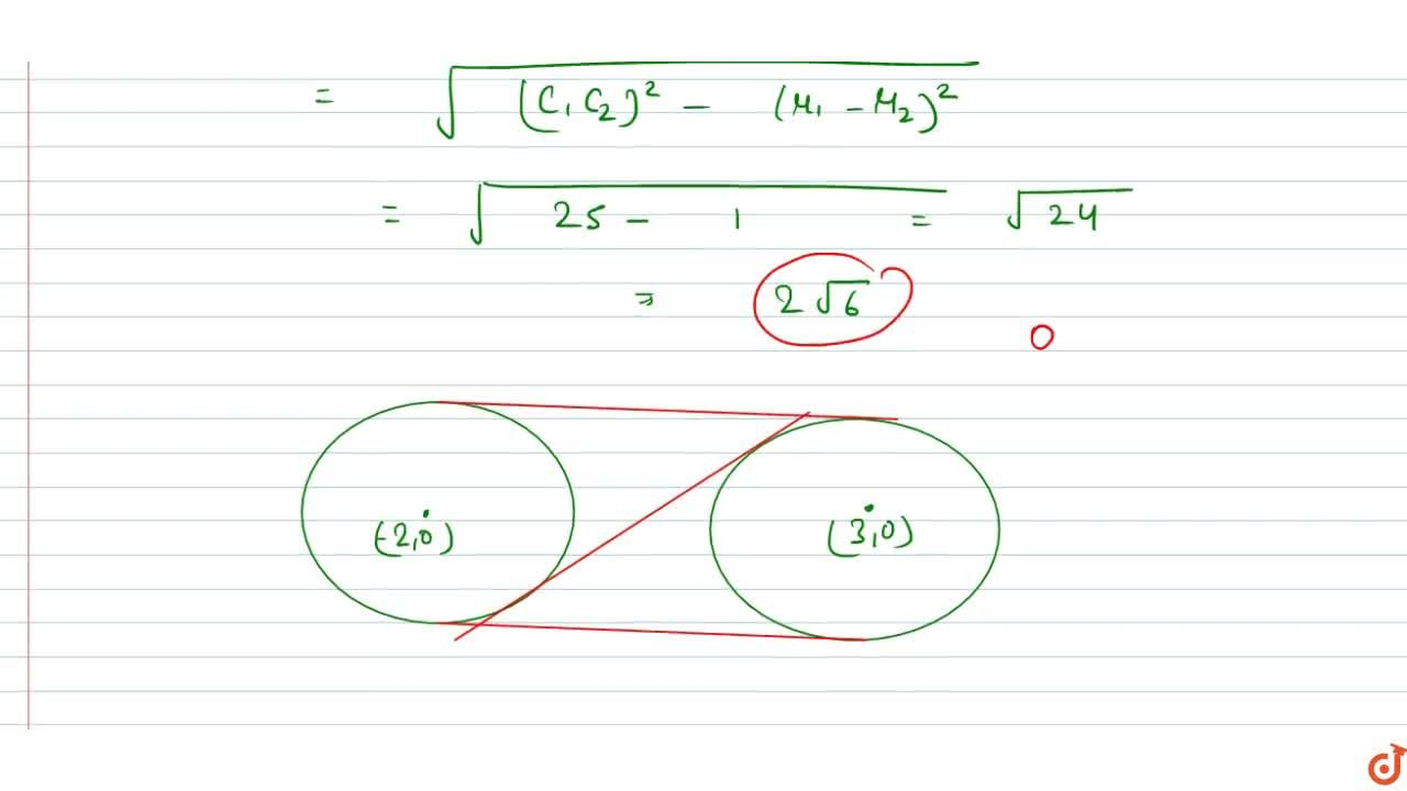 Solution for The lengths of the common tangents of the circles