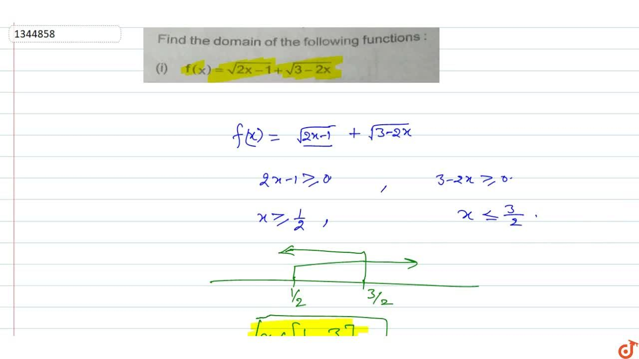 Solution for Find the domain of the following functions :(i) f