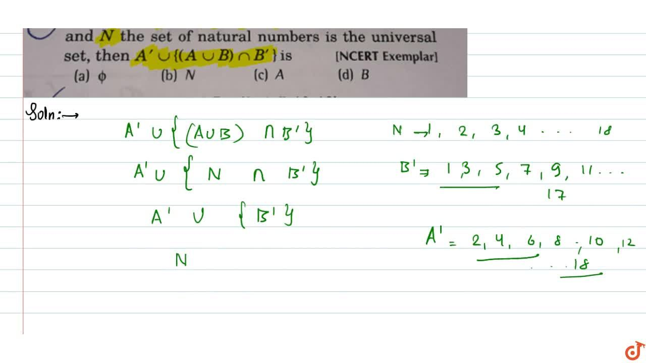 Solution for If A={1,3,5,7,9,11,13,15,17}, B={2,4,.......,18}