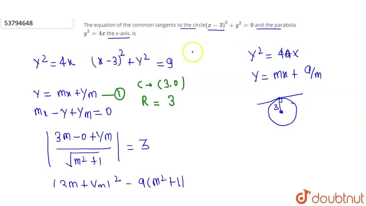 The equation of the common tangents to the circle`(x-3)^(2)+y^(2)=9` and the parabola `y^(2)=4x` the x-axis, is