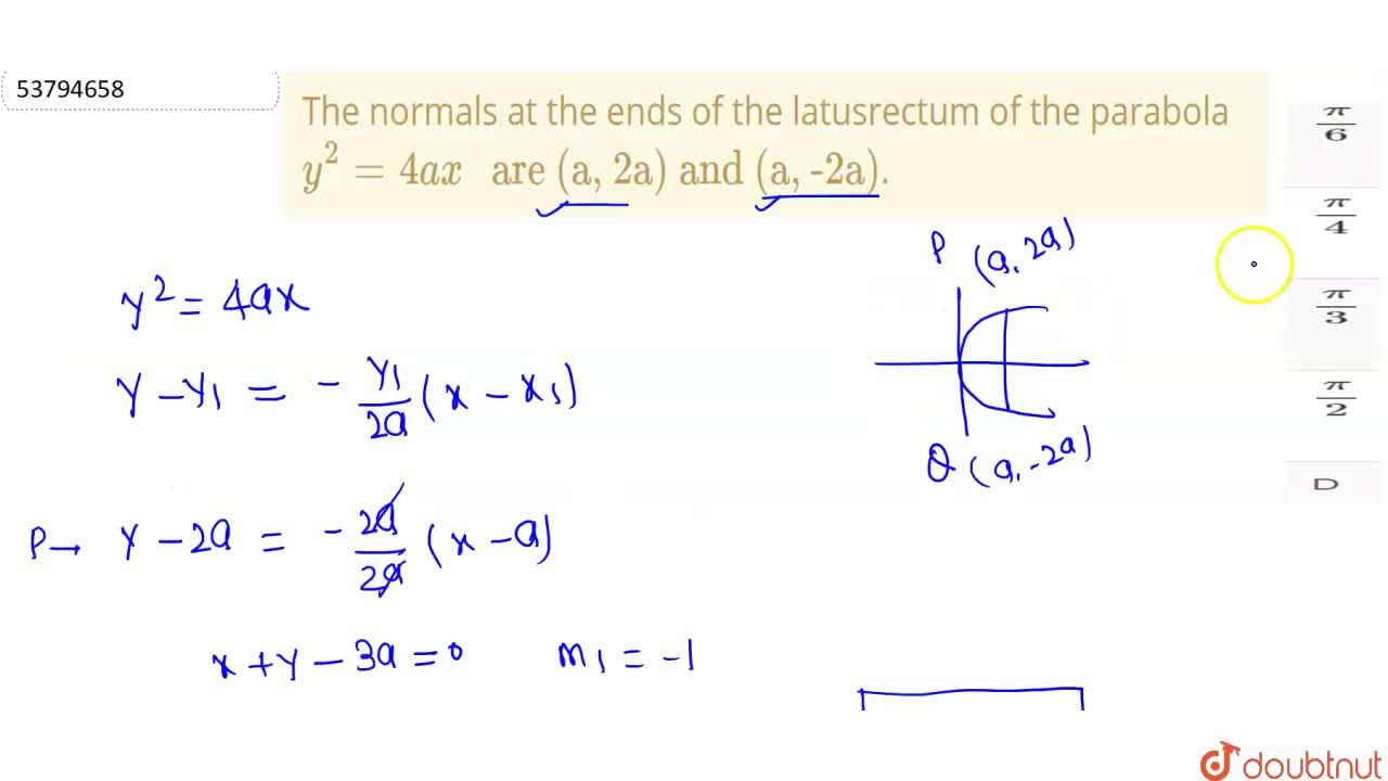 """The normals at the ends of the latusrectum of the parabola y^(2)=4ax"""" are (a, 2a) and (a, -2a)""""."""