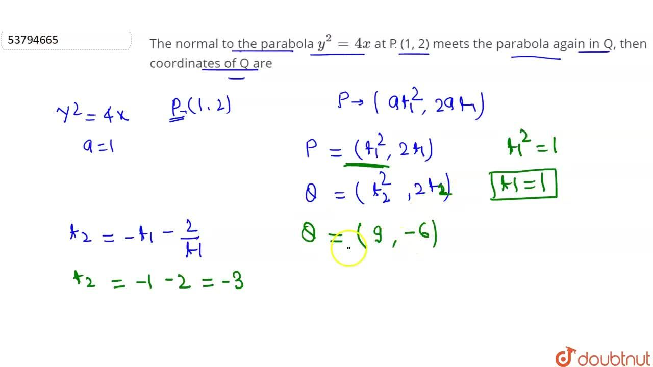 Solution for The normal to the parabola y^(2)=4x at P (1, 2)