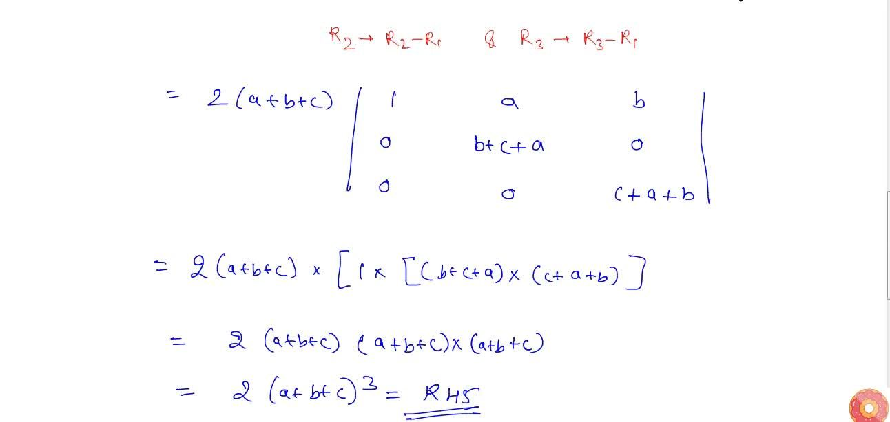 Solution for Using properties of determinants, prove that follo