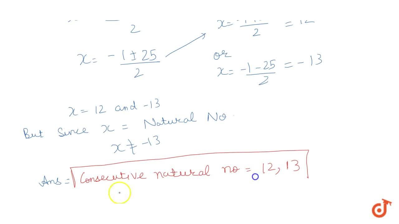 Solution for The sum of square of two consecutive natural no is