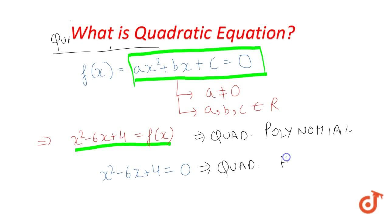 Solution for What is Quadratic Equation ?